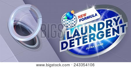 Laundry Detergent For Ultra Clean Washing.template For Laundry Detergent. Package Design For Washing