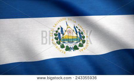 Salvador Flag Waving Animation. Full Screen. Flag Of El Salvador. Rendered Using Official Design And