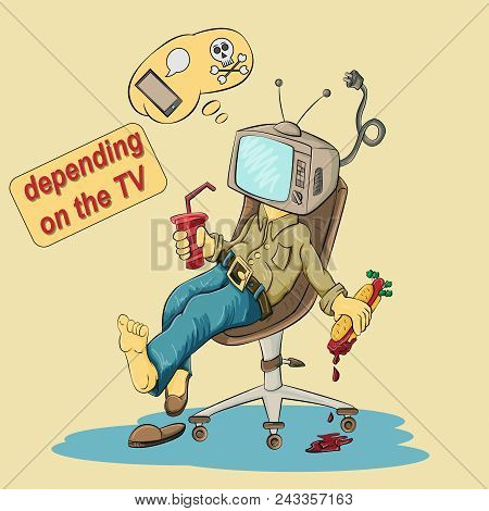 Vector Illustration Of A Person Sitting In A Chair With A Tv Instead Of A Head In His Hands Holding