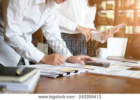 Consult Of Business People Talking And Meeting With Consulting Finance Data.