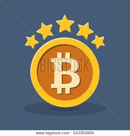 Bitcoin With Five Stars Flat Icon. Digital Cryptocurrency Concept. Golden Coin With Bitcoin Symbol O