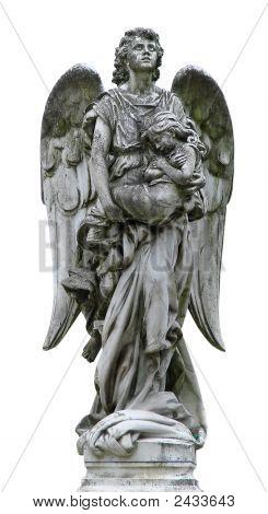 Isolated Mature Marble Angel Figurine Sculpture