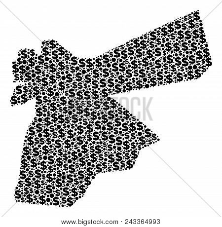 Jordan Map Collage Of Dollars And Round Dots In Different Sizes. Abstract Vector Treasury And Gdp Jo