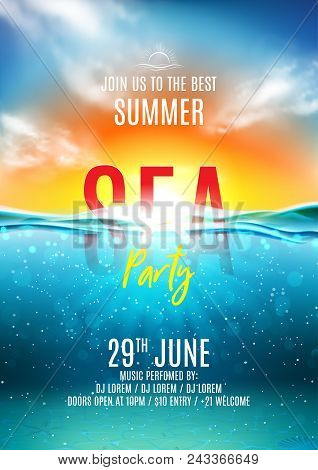 Summer Sea Party Poster. Vector Illustration With Deep Underwater Ocean Scene. Background With Reali
