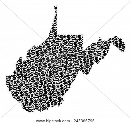 West Virginia State Map Mosaic Of Money Signs And Circle Dots In Variable Sizes. Abstract Vector Ban