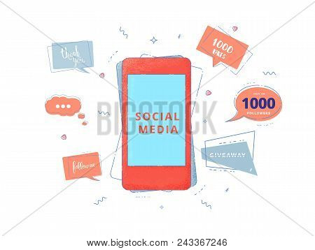 Social Media Set Of  Banners With Lettering Isolated On White Background. Phone And Speech Bubble Sh