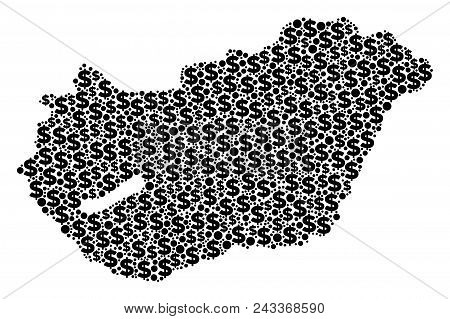 Hungary Map Composition Of Money Signs And Round Points In Different Sizes. Abstract Vector Treasury