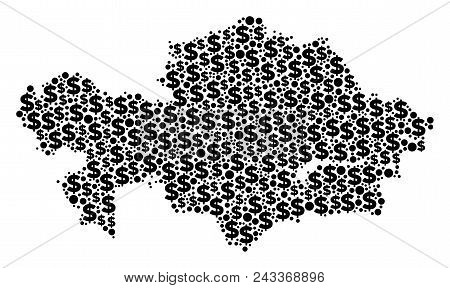 Kazakhstan Map Collage Of Money Signs And Round Dots In Different Sizes. Abstract Vector Monetary An