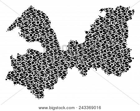 Leningrad Oblast Map Collage Of Dollar Symbols And Round Spots In Variable Sizes. Abstract Vector Mo