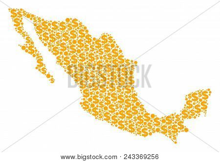 Mexico Map Composition Of Dollar Symbols And Sphere Points In Variable Sizes. Abstract Vector Financ