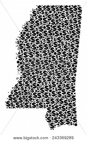 Mississippi State Map Composition Of Dollars And Circle Points In Different Sizes. Abstract Vector T