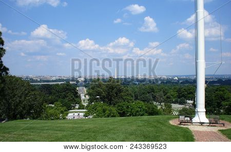 The Washington Monument And Lincoln Monument As Seen From Arlington National Cemetery, Arlington, Va