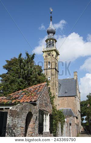Middelburg, Zeeland /netherlands, June 3 2018: Abbey Complex With Its Tower Lange Jan Middelburg Zee