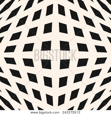 Vector Geometric Checkered Pattern. Seamless Texture With Cubic Shapes, Squares, Rhombuses. Optical