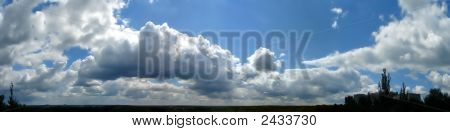 Panoramic Hdr Image Of Cloudy Sky Wide Angle View
