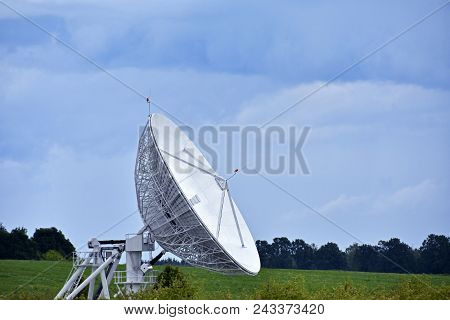 Large Satellite Dish For Receiving And Transmitting Tv Signal And Data Transfer To The Satellite
