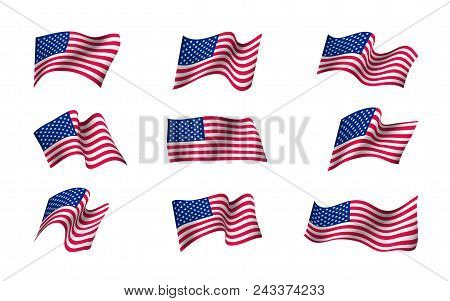 Set Of Us Flags Waving In The Wind. Flag Day Of United States Of America Background Design. Creative