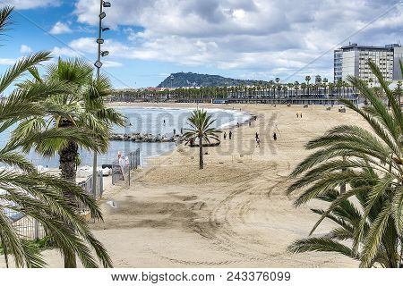 The Beach Of Barcelona With Palm Trees And Yachts. Barcelona, Spain - May 13, 2018.