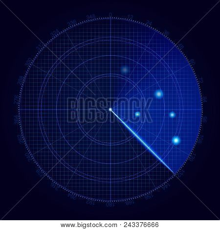 Realistic Vector Radar In Searching . Air Search . Military Search System Blip Illustration . Naviga