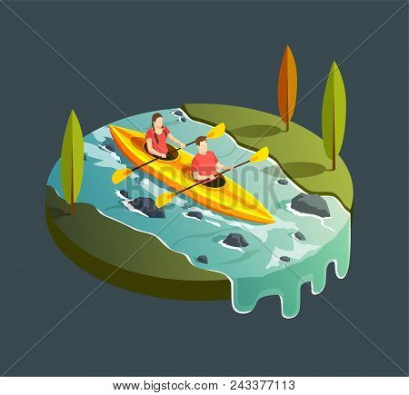 Camping Hiking Isometric Icons Composition With Round View Of Mountain Stream River And Paddleboat W