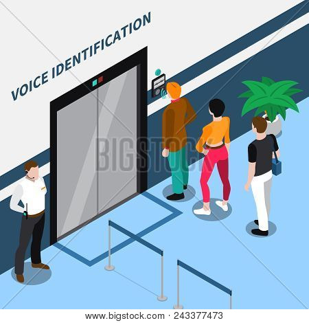 Access Identification Isometric Composition With People Standing Before Office Door Equipped With Vo