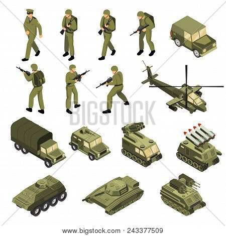 Military Vehicles Soldiers Commanders Set Of Isolated Tactical Transport Units And Fighting Entities