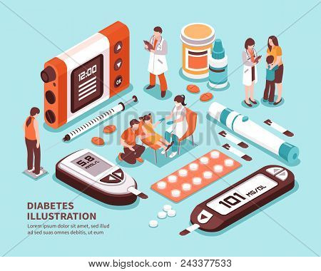 Diabetic Patient Life Isometric Composition With Diagnosis Sugar Level Tests Weight Control Diet Ins