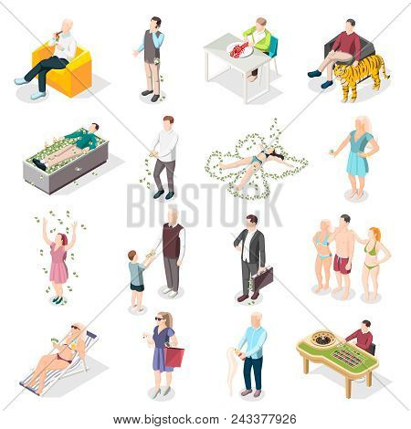 Rich People And Rich Life Isometric Icons Set Of Wealthy Persons Relaxing On South Beach Eating Deli