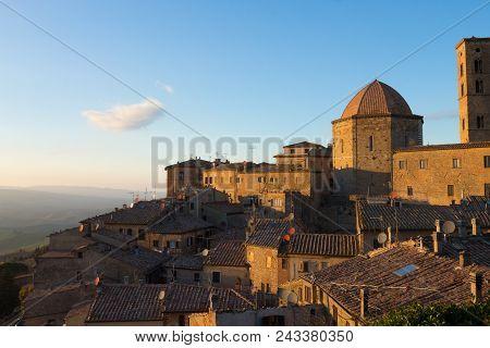 Volterra City Landscape, Tuscany, Italy. Hystorical Town. Italian Landmark.