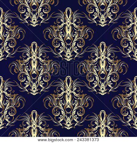 Gold Baroque Seamless Pattern. Vector Royal Ornate Blue Damask Background. Golden Vintage 3d Damask