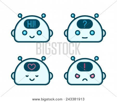 Cute Robot Chat Bot Face Emotion Character Set. Vector Modern Flat Line Style Cartoon Character Illu