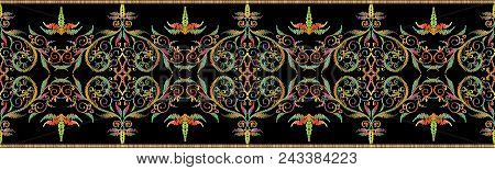 Embroidery Colorful Floral Vector Seamless Border Pattern. Tapestry  Damask Flowers, Leaves, Lines,