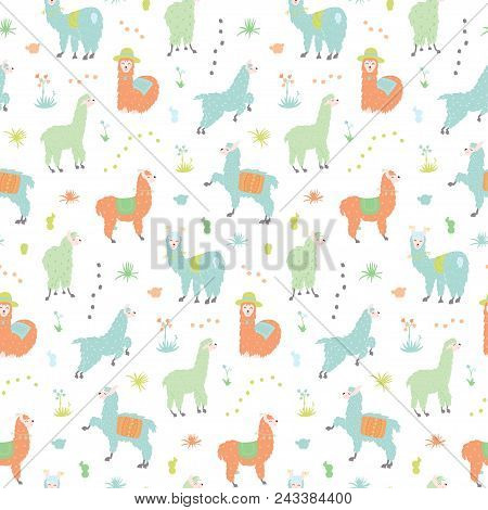 Vector Seamless Pattern With South America Cute Llama With Decorations. Isolated Outline Cartoon Bab