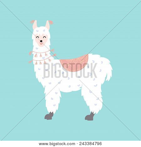 Vector Illustration Of Cute Character South Llama. Isolated Outline Cartoon Baby Lama. Hand Drawn Pe