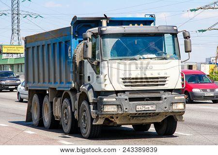 Moscow, Russia - June 2, 2012: Dump Truck Iveco Trakker At The Interurban Freeway.