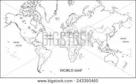 World map mercator vector photo free trial bigstock world map mercator projection blank map with boundary line gumiabroncs Gallery