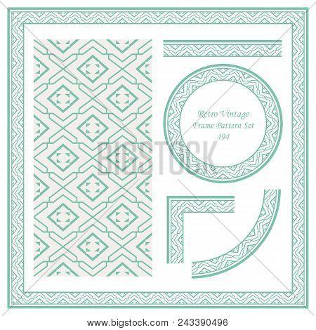 Vintage Border Seamless Pattern Background Set Star Geometry Chek Spiral Cross Frame, Ideal For Invi
