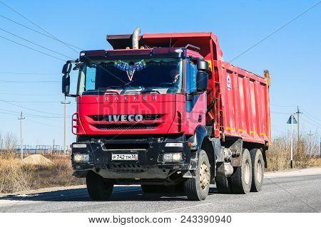 Novyy Urengoy, Russia - June 10, 2013: Dump Truck Iveco Trakker At The Interurban Road.