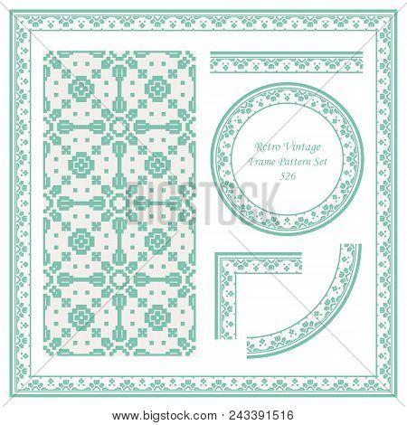 Vintage Border Seamless Pattern Background Set Mosaic Pixel Geometry Cross Square Chek, Ideal For In