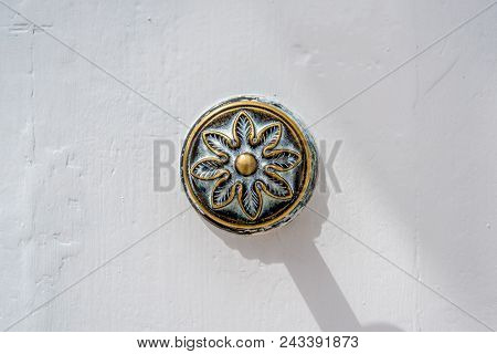 Photo Of Traditional Metal Door Handle On White Wood Door, Malta