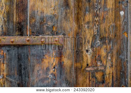 Photo Of Old Rustic Wood Texture With Metal Parts, Perfect For A Background