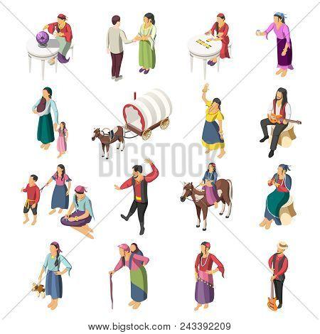 Gypsies Isometric Icons Set Of Adult Romany People With Children Leading Liberty Nomadic Lifestyle I