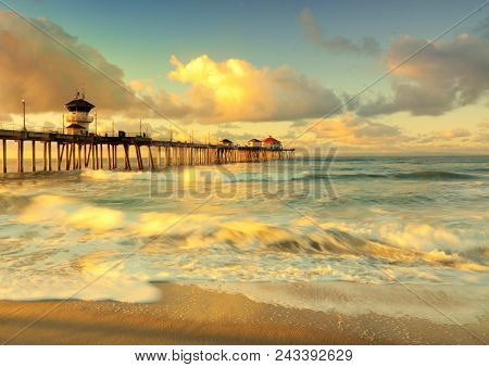 Sunshine On My Mind: Sunrise At Huntington Beach Pier, Huntington Beach, California