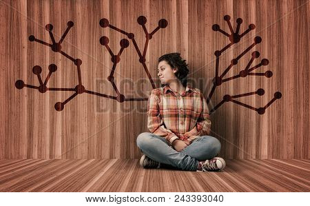Woman In A Wooden Room With A Network Tree Drawn On Wall.