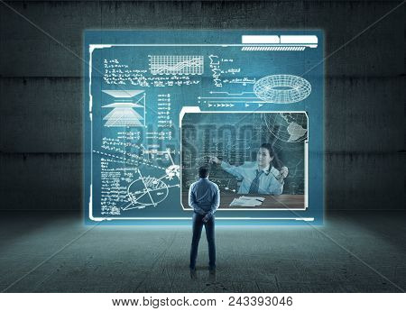 Student In Front Of Digital Screen With Mathematical Formulas And Teacher Exaplain The Problem. The