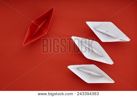 Leadership Concept With Red Paper Ship