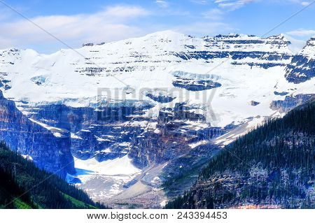 Close Up Of The Victoria Glacier On Mt Victoria At Lake Louise Near Banff National Park In Alberta,