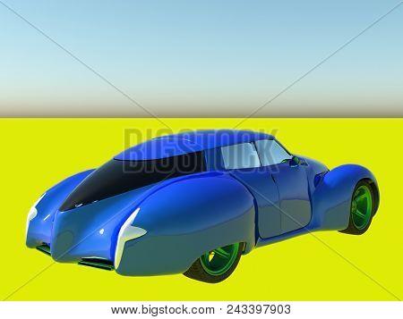 Generic model of a car 3d rendering