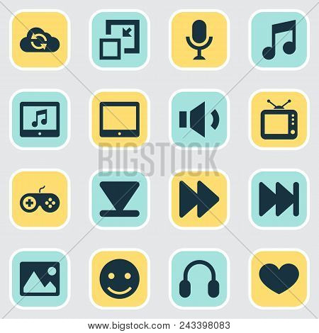 Multimedia Icons Set With Megaphone, Next, Synchronize And Other Volume Down Elements. Isolated  Ill
