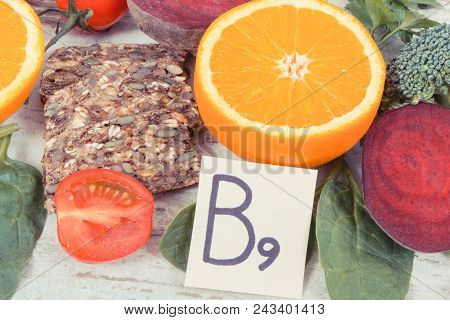 Vintage photo, Nutritious products containing vitamin B9, natural sources of minerals and folic acid, healthy nutrition concept poster